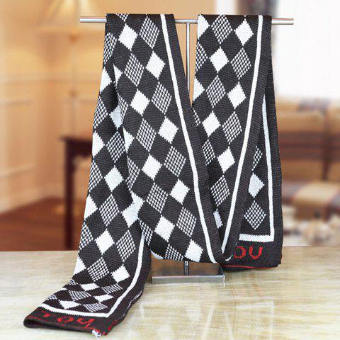 Stylish Checked and Letter Pattern Winter Knitted Scarf For Men - BLACK
