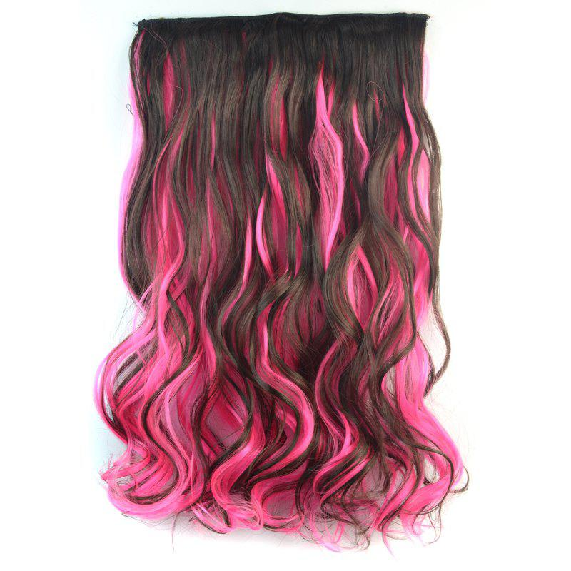 Trendy Long Synthetic Shaggy Curly Clip In Deep Brown Mixed Pink Hair Extension For Women - COLORMIX