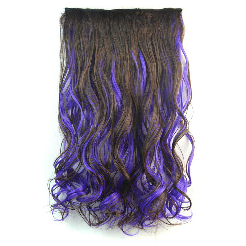 Towheaded Curly Clip In Synthetic Nobby Long Deep Brown Mixed Purple Women's Hair Extension - COLORMIX