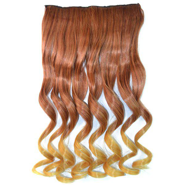 Fluffy Curly Clip In Elegant Brown Ombre Blonde Vogue Long Synthetic Women's Hair Extension - OMBRE 2