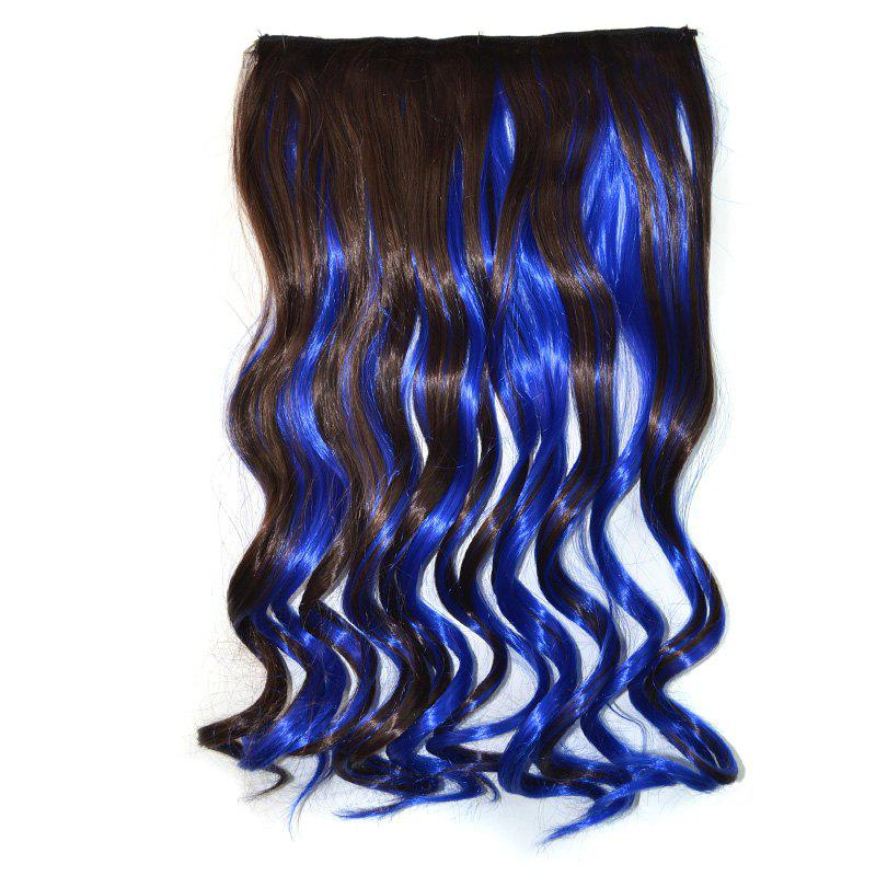 Fashion Deep Brown Mixed Royalblue Fluffy Curly Long Synthetic Women's Hair Extension - COLORMIX