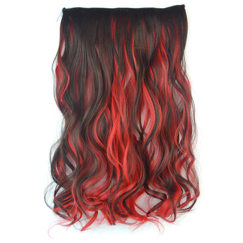 Fluffy Curly Stunning Deep Brown Mixed Red Stylish Long Synthetic Women's Hair Extension - COLORMIX