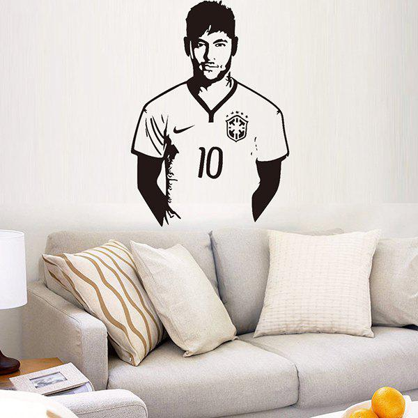 High Quality Soccer Player Neymar Pattern Removeable Background Wall Sticker - BLACK
