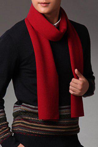 Stylish Solid Color Fringed Edge Winter Scarf For Men - WINE RED