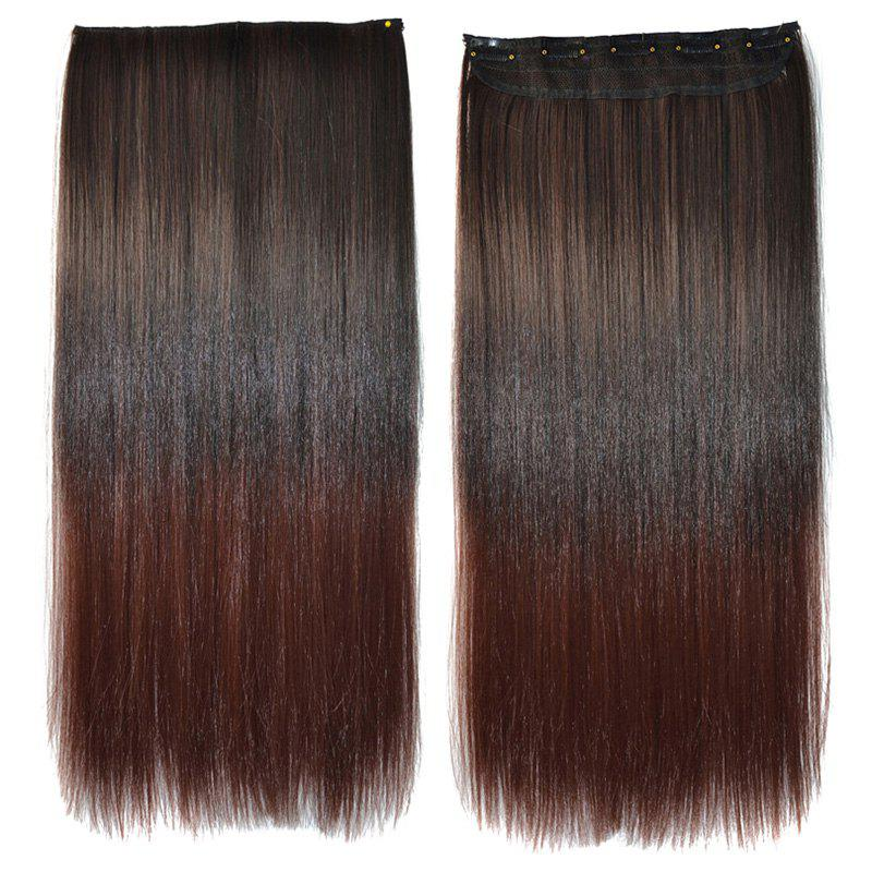 Charming Long Clip In Synthetic Silky Straight Fashion Black Brown Ombre Hair Extension For Women - OMBRE 2