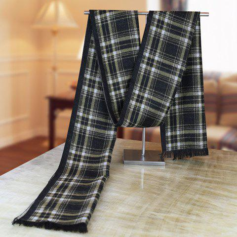 Stylish Plaid Pattern Fringed Edge Winter Scarf For Men - BLACK