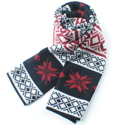 Stylish Christmas Snowflake and Rhombus Pattern Winter Knitted Scarf For Men