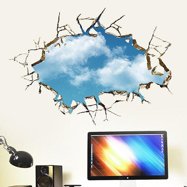High Quality Broken Wall Blue Sky Pattern Removeable 3D Wall Sticker