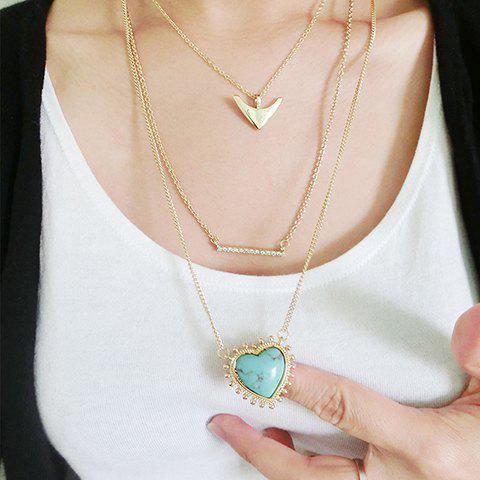 Stylish Layered Rhinestoned Heart Pendant Arrow Sweater Chain For Women - GREEN