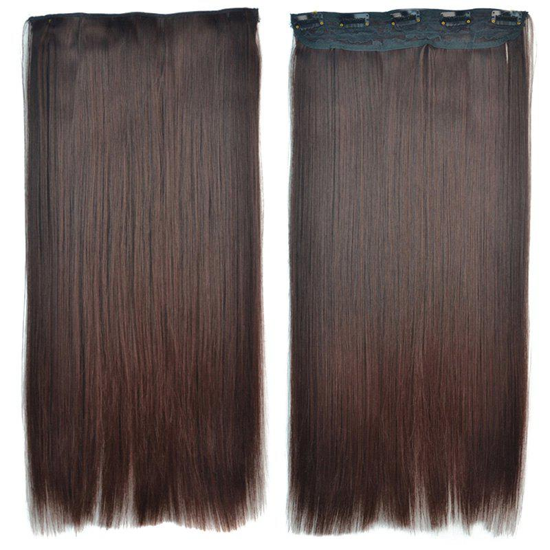 Attractive Brown Gradient Synthetic Fashion Long Glossy Straight Women's Clip-In Hair Extension - OMBRE