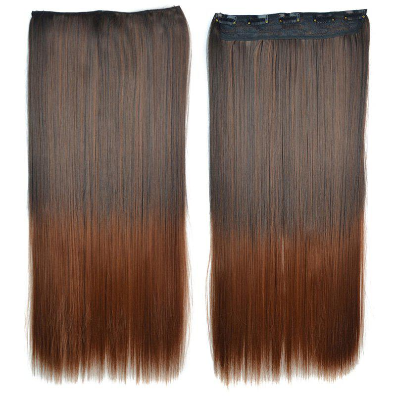 Trendy Long Clip-In Synthetic Stunning Brown Ombre Silky Straight Women's Hair Extension - OMBRE