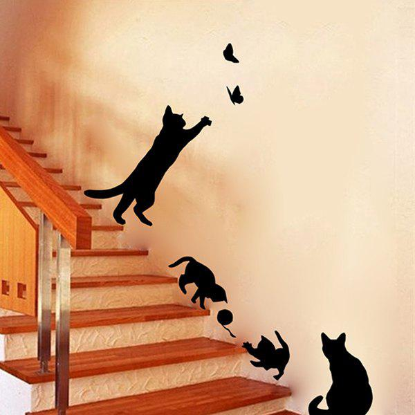 High Quality Solid Color Kitten Butterfly Pattern Removeable Toilet Wall Sticker - BLACK