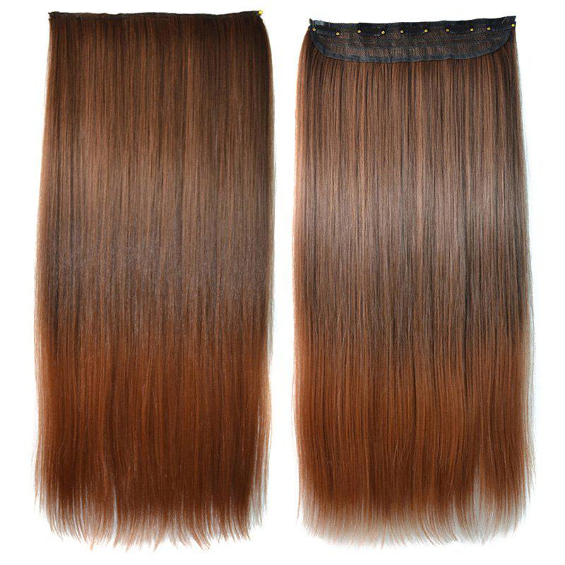 Elegant Light Brown Ombre Silky Straight Trendy Long Clip-In Synthetic Women's Hair Extension