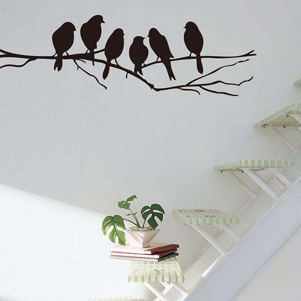 High Quality Branch Bird Pattern Removeable Toilet Wall Sticker - BLACK