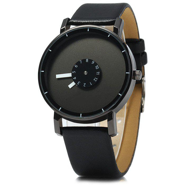 Male Quartz Watch Rotational Scales Wristwatch with Leather Band - BLACK