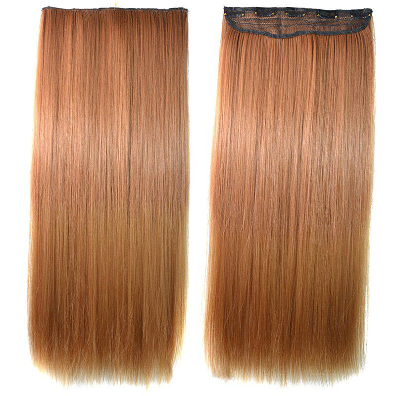 Elegant Glossy Straight Trendy Golden Ombre Clip-In Synthetic Women's Hair Extension - OMBRE