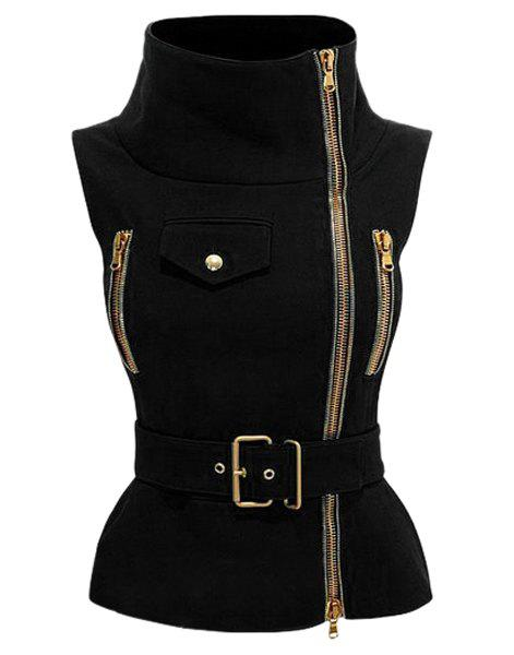 Stylish Sleeveless Stand-Up Collar Solid Color Zipper Embellished Women's Waistcoat - BLACK S