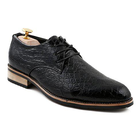 Trendy Lace-Up and Crocodile Print Design Formal Shoes For Men - 38 BLACK