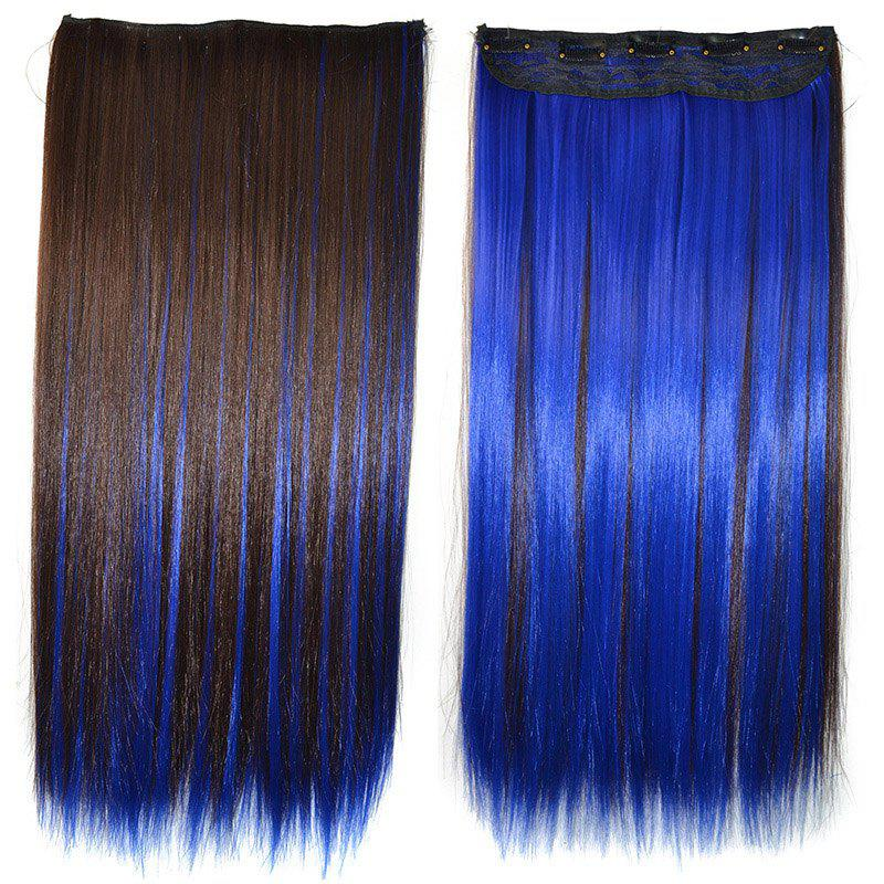 Trendy Long Silky Straight Elegant Royalblue Highlight Synthetic Clip-In Women's Hair Extension - COLORMIX