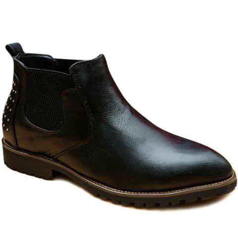 Trendy Elastic and Rivet Design Boots For Men
