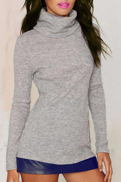 Chic Solid Color Turtleneck Long Sleeve Gray Pullover Knitwear For Women - GRAY S