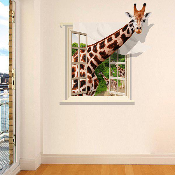 Good Quality Giraffe Pattern Window Shape Removeable 3D Wall Sticker quality castle pattern window shape removeable 3d wall sticker