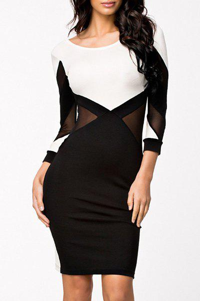 2018 Sexy Voile Spliced Scoop Neck Open Back Long Sleeve ... - photo #35
