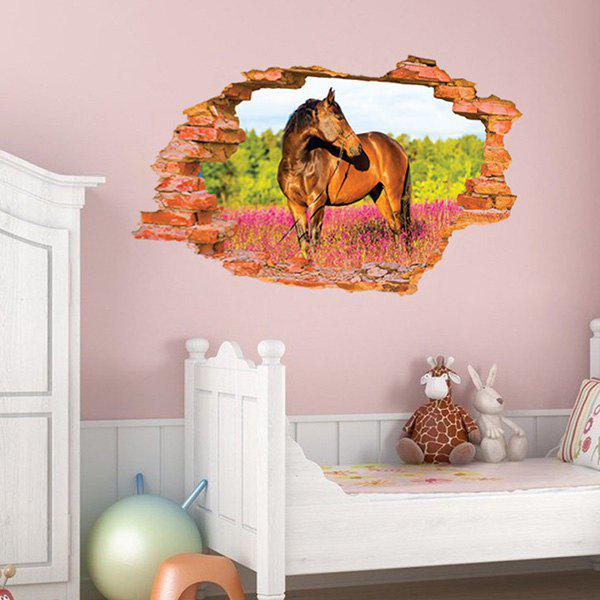 High Quality Broken Wall Horse Pattern Removeable 3D Wall Sticker - COLORMIX