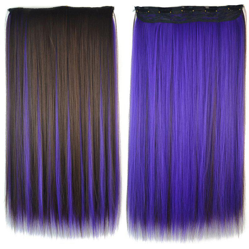Fashion Silky Straight Purple Highlight Stunning Long Clip In Synthetic Women's Hair Extension - COLORMIX