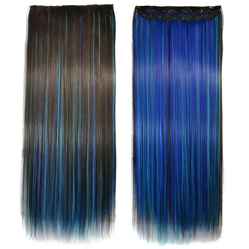 Gorgeous Clip In Glossy Straight Colorful Highlight Trendy Long Women's Hair Extension - COLORMIX
