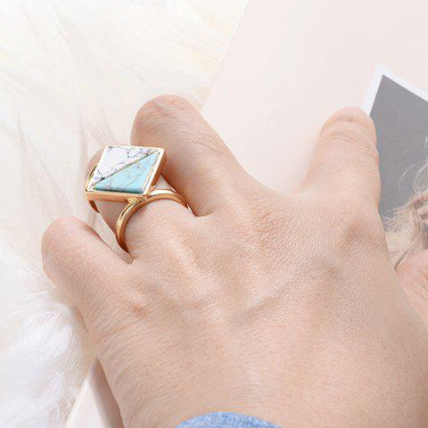 Delicate Double-Layered Artificial Stone Square Ring For Women - GOLDEN ONE-SIZE