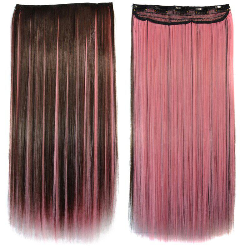 Stunning Long Synthetic Vogue Pink Highlight Glossy Straight Women's Clip-In Hair Extension - COLORMIX