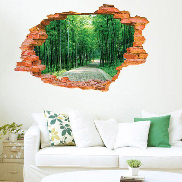High Quality Broken Wall Tree-Lined Trail Pattern Removeable 3D Wall Sticker - COLORMIX
