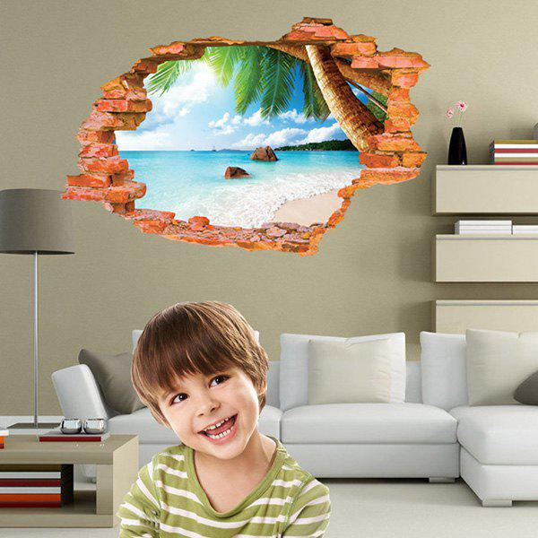 High Quality Broken Wall Beach Pattern Waterproof Removeable 3D Wall Sticker
