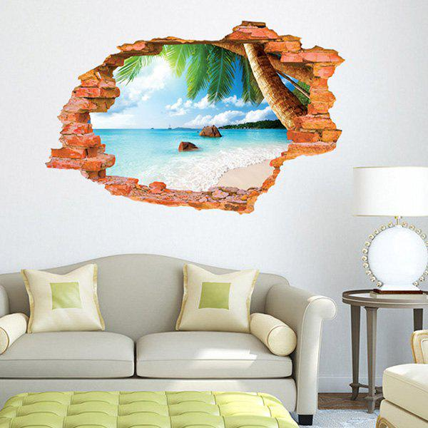 High Quality Broken Wall Beach Pattern Waterproof Removeable 3D Wall Sticker - COLORMIX
