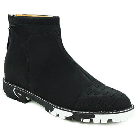 Simple Stitching and Solid Colour Design Boots For Men - BLACK 40