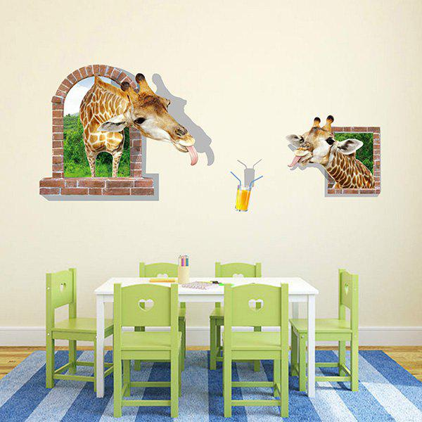 Good Quality Giraffe Drinking Juice Pattern Window Shape Removeable 3D Wall Sticker - COLORMIX