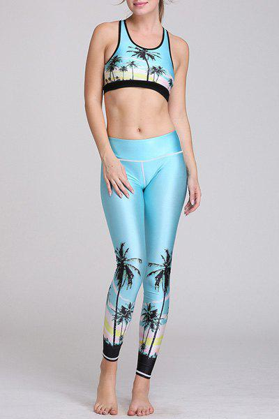 Active Style Sleeveless U Neck Tree Print Crop Top + Skinny Pants Women's Yoga Suit - BLUE L