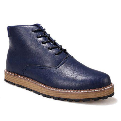 Trendy PU Leather and Solid Colour Design Casual Shoes For Men - DEEP BLUE 44