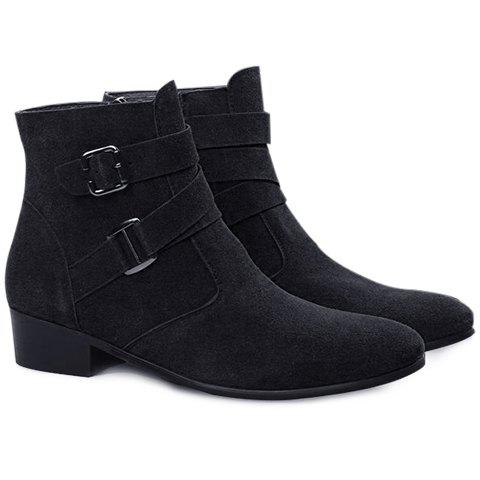 Casual Buckle Strap and Zipper Design Short Boots For Men - BLACK 44