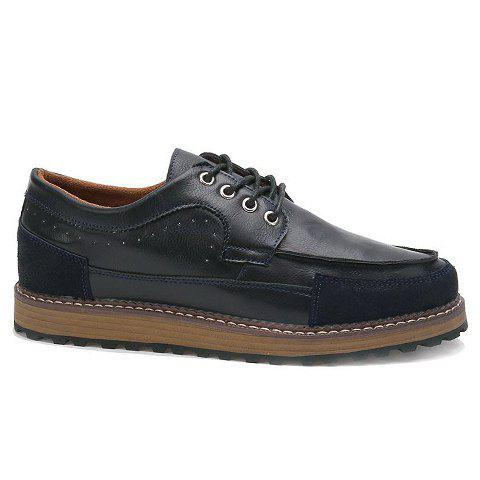 Fashionable Suede and PU Leather Design Casual Shoes For Men - BLUE 44