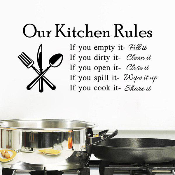 High Quality Letter Pattern Removeable Waterproof Kitchen Wall Sticker - BLACK