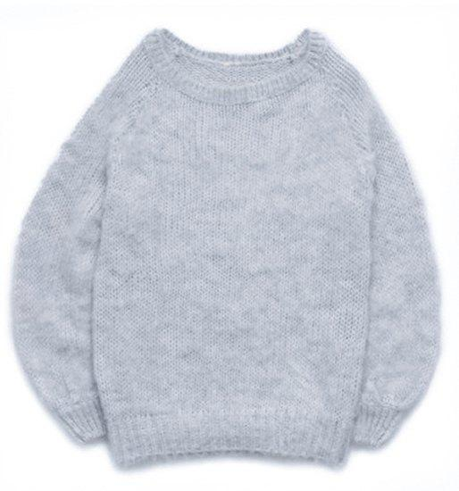 Brief Slash Neck Long Sleeve Mohair Sweater For Women - GRAY ONE SIZE(FIT SIZE XS TO M)