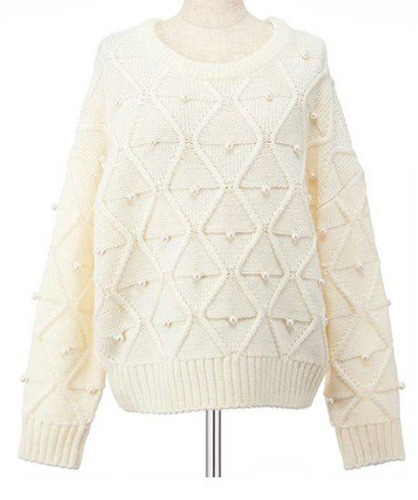 Chic Women's Jewel Neck Long Sleeve Beading Sweater - OFF WHITE ONE SIZE(FIT SIZE XS TO M)