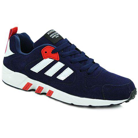 Simple Color Block and Stripes Design Athletic Shoes For Men - BLUE 44