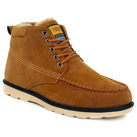 Casual Criss-Cross and Suede Design Boots For Men - BROWN 42
