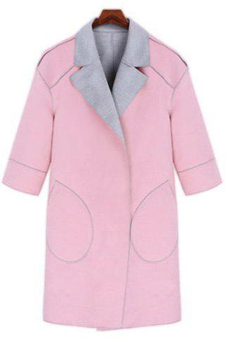 Stylish 3/4 Sleeve Turn-Down Collar Plus Size Pocket Design Women's Coat - LIGHT PINK 3XL