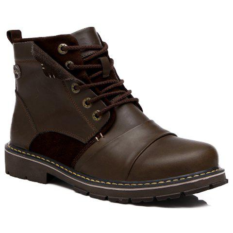 Simple Splicing and Solid Color Design Combat Boots For Men - DEEP BROWN 41