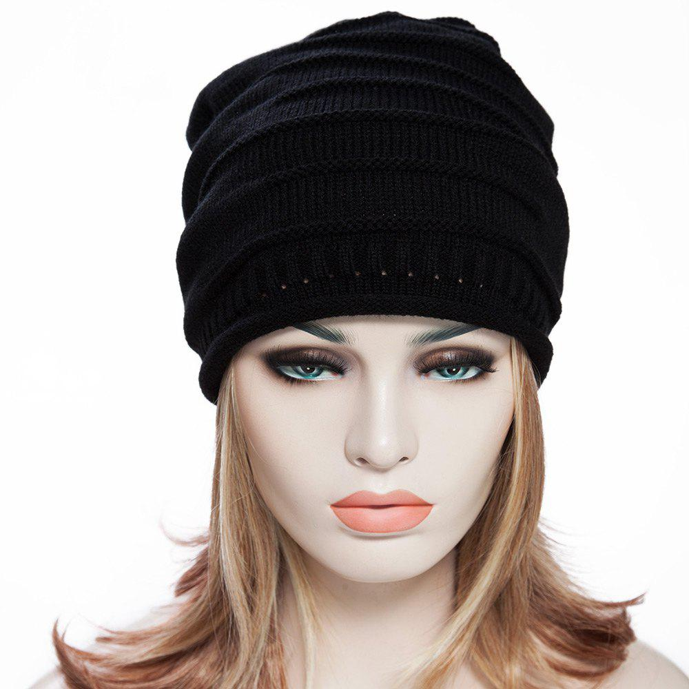 Stylish Chic Women Ruched Solid Color Knitting Hat - BLACK 34 X 15 CM