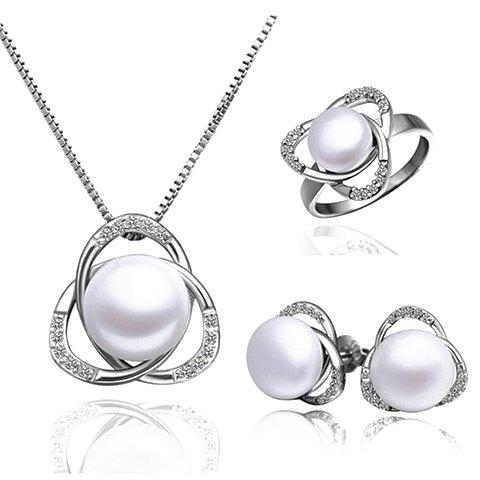 A Suit of Chic Faux Pearl Clover Shape Necklace Ring and Earrings For Women - SILVER ONE-SIZE
